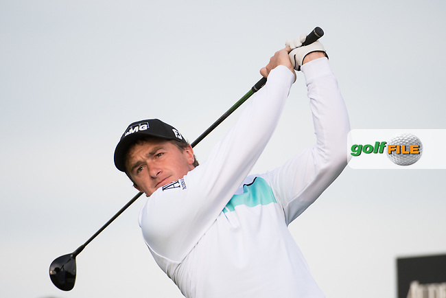 Paul Dunne (IRL) in action on the 1st hole during the final round at the KLM Open, The International, Amsterdam, Badhoevedorp, Netherlands. 15/09/19.<br /> Picture Stefano Di Maria / Golffile.ie<br /> <br /> All photo usage must carry mandatory copyright credit (© Golffile | Stefano Di Maria)