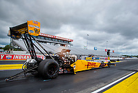 Jul 10, 2020; Clermont, Indiana, USA; NHRA top fuel driver Shawn Langdon during testing for the Lucas Oil Nationals at Lucas Oil Raceway. This will be the first race back for NHRA since the COVID-19 pandemic. Mandatory Credit: Mark J. Rebilas-USA TODAY Sports