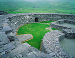 County Kerry, Ireland       <br /> Circular walls of Loher Stone fort on the Iveragh Peninsula near Coomakesta Pass
