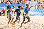 MOREIRA Ozu of Japan celebrates with teammates TABATA Teruki during the Beach Soccer Men's Team Gold Medal Match between Japan vs Oman on Day Nine of the 5th Asian Beach Games 2016 at Bien Dong Park on 02 October 2016, in Danang, Vietnam. Photo by Marcio Machado / Power Sport Images