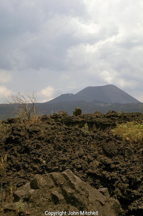 Lava fields and the cone of Volcan Paricutin, Michoacan, Mexico