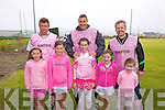 Pretty in Pink! Some of the Renard supporters with the management in Portmagee on Saturday for the ladies Blitz pictured front l-r; Laura Dwyer, Caoimhe Teehan, Kate O'Neill, Rachel Dwyer, Aoifa Dwyer, back l-r; Frank McCarthy, Maurice Fitzgerald & Patrick McDaide.