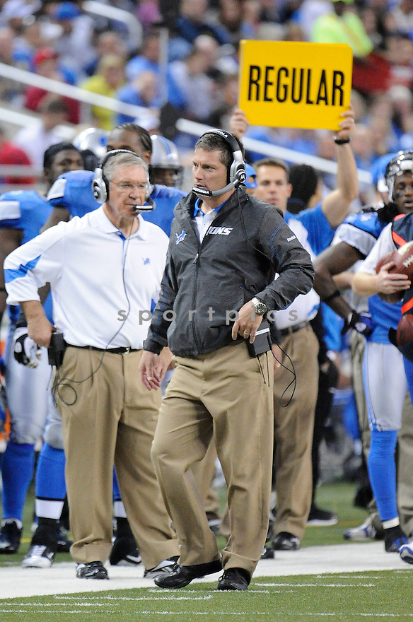 JIM SCHWARTZ, of the Detroit Lions, in action during the Lions game against the Washington Redskins at Ford Field  on October 31, 2010  in Detroit, Michigan...Lions beat the Redskins 37-25