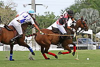 """WELLINGTON, FL - APRIL 25:  Juan """"Jota"""" Chavanne of Orchard Hill (dark jersey) and Adolfo Cambiaso of Valiente battle for the ball, as Valiente defeats Orchard Hill 13-12, in OT,  in the US Open Polo Championship Final, to win the U. S. Polo Triple Crown, at the International Polo Club Palm Beach, on April 25, 2017 in Wellington, Florida. (Photo by Liz Lamont/Eclipse Sportswire/Getty Images)"""