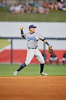 Pensacola Blue Wahoos shortstop Luis Gonzalez (19) throws to first base during a game against the Birmingham Barons on May 8, 2018 at Regions Field in Birmingham, Alabama.  Birmingham defeated Pensacola 5-2.  (Mike Janes/Four Seam Images)