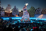 The crooked Christmas tree at Grinchmas at Universal Studios Hollywood in Los Angeles, CA