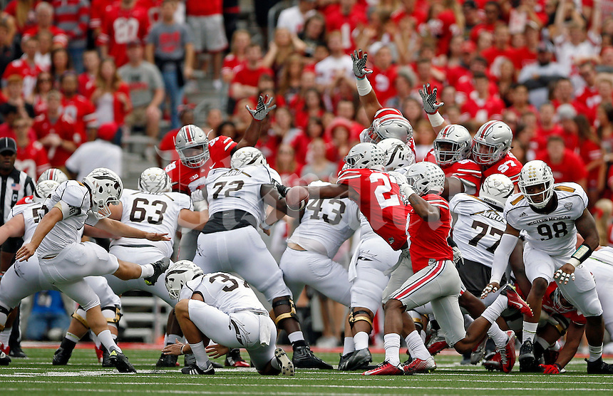 Ohio State Buckeyes safety Tyvis Powell (23) blocks the field goal chance by Western Michigan Broncos place kicker Andrew Haldeman (45) in the 1st quarter of their game at Ohio Stadium on September 26, 2015.  (Dispatch photo by Kyle Robertson)