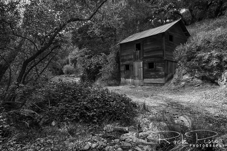 An abandoned ranch building sits alongside a country road in Morgan Territory Regional Preserve, an East Bay Regional Park located in California's Contra Costa County.