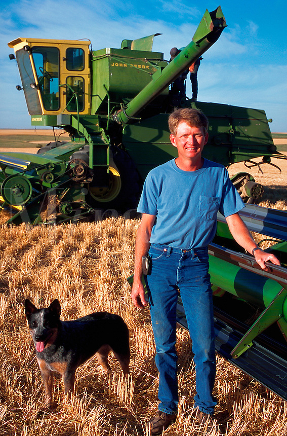 Portrait of a smiling farmer out in his wheat field with his dog and farm equipment.
