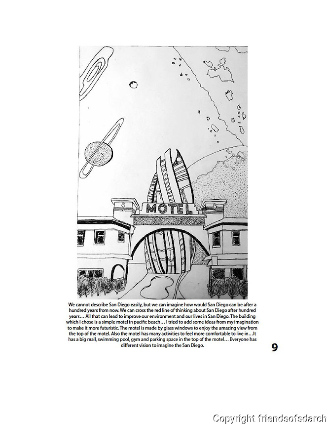 Entry for Omar Bahareth, NSAD. FSDA Collage Competition 2015. Collage is a simple motel in Pacific Beach with futuristic ideas.