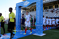 Joe Worrall leads out the England team during England Under-18 vs Scotland Under-20, Toulon Tournament Semi-Final Football at Stade Parsemain on 8th June 2017