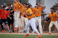 Brandon Fields (8) hits a home run during the WWBA World Championship at the Roger Dean Complex on October 12, 2019 in Jupiter, Florida.  Brandon Fields attends Dr. Phillips High School in Orlando, FL and is committed to South Carolina.  (Mike Janes/Four Seam Images)