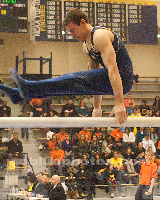 The #6 University of Michigan men's gymnastics team 344.050-340.400 victory over #3 Illinois at Cliff Keen Arena in Ann Arbor, MI, on February 12, 2011.