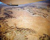 AUSTRALIA, the Outback, aerial view of the outback landscape with aboriginal art from a plane