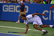 Washington, DC - August 2, 2017: Gael Monfils of France slips during a match with Yuki Bhambri of India at the Citi Open held at the Rock Creek Tennis Center in Washington, D.C., August 2, 2017.  (Photo by Don Baxter/Media Images International)