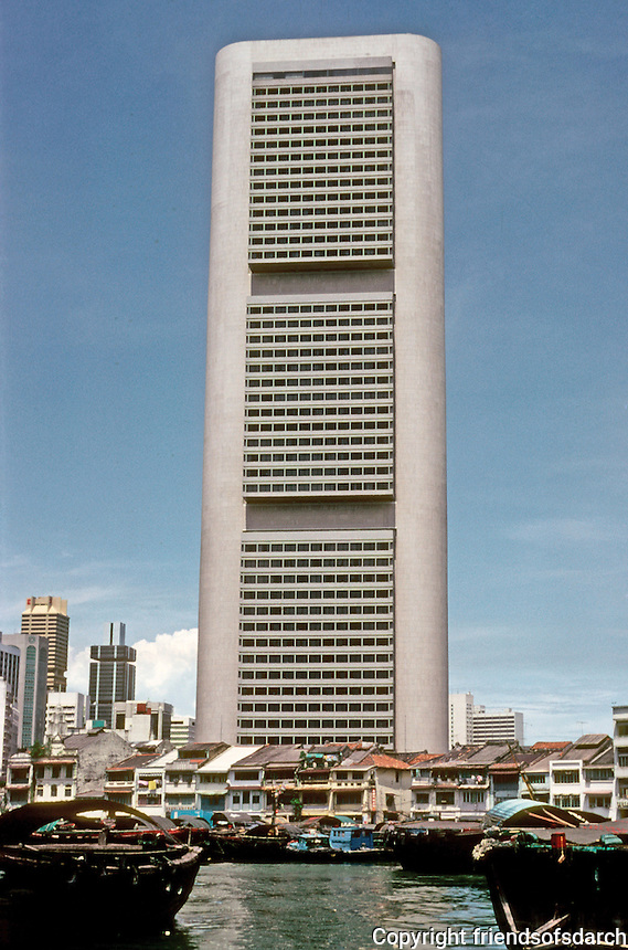 Singapore: Old and new!  I.M. Pei & Partners, 1976. Overseas-Chinese Banking Corp. Center. Photo '82.