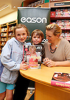 "*** NO FEE PIC ***.01/10/2011.Eason Ireland's leading retailer of books stationery, magazines & lots more hosted a book sigining by best selling cookery writer & TV cook Rachel Allen who signed copies of her new book "" Easy Meals"" for fans Allison Flynn (9) & Adam Flynn (6) both from Rahney.at Eason O' Connell St, Dublin..Photo: Gareth Chaney Collins"