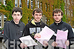 St Brendan's college students Gerard Murphy, Dean Murphy and Dan Murphy who started the Leaving Cert on Wenesday