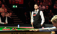 Judd Trump watches over Neil Robertson's shot during the Dafabet Masters Quarter Final 2 match between Judd Trump and Neil Robertson at Alexandra Palace, London, England on 15 January 2016. Photo by Liam Smith / PRiME Media Images.