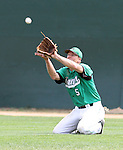 SIOUX FALLS, SD - AUGUST 18:  Tim Huber #5 from the Renner Monarchs makes a catch from his knees against the Sioux Falls Brewers during the sixth inning Sunday afternoon during the Class A Amateur Baseball Tournament at the Sioux Falls Stadium. (Photo by Dave Eggen/Inertia)