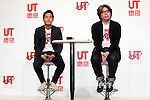 """(L to R) Rei Matsunuma , Global Marketing Projector of UNIQLO Co., Ltd. and Yugo Nakamura, Creative Director of UTme! application attend a special Uniqlo media event to promote the """"UTme!"""" smart phone application on April 28, 2015. The application allows customers to upload their own designs to sell through """"UTme! Market"""". Customers also can select new effects, characters and designs from Coca-Cola, Mottchy the Kakkoii-inu and fashion magazine Non-no. (Photo by Rodrigo Reyes Marin/AFLO)"""