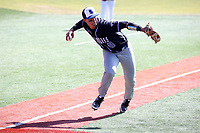 ELON, NC - MARCH 1: Diego Gines #11 of Indiana State University barehands the ball and throws to first base for an out during a game between Indiana State and Elon at Walter C. Latham Park on March 1, 2020 in Elon, North Carolina.