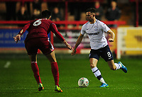 Preston North End's Alan Browne under pressure from Accrington Stanley's Liam Nolan<br /> <br /> Photographer Kevin Barnes/CameraSport<br /> <br /> The Carabao Cup - Accrington Stanley v Preston North End - Tuesday 8th August 2017 - Crown Ground - Accrington<br />  <br /> World Copyright &copy; 2017 CameraSport. All rights reserved. 43 Linden Ave. Countesthorpe. Leicester. England. LE8 5PG - Tel: +44 (0) 116 277 4147 - admin@camerasport.com - www.camerasport.com