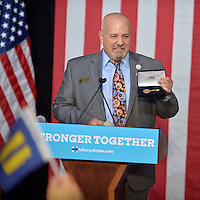 WILTON MANORS, FL - OCTOBER 30: Mayor of Wilton Manors Gary Resnick speak before the Democratic presidential nominee former Secretary of State Hillary Clinton speaks during a LBGT community in Unity Rally and Concert campaign event at The Manor Complex on October 30, 2016 in Wilton Manors, Florida. With less than nine day to go until election day, Hillary Clinton continues to campaign in Florida and other battleground states. Credit: MPI10 / MediaPunch
