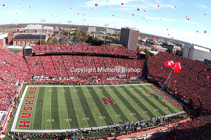 Balloons fill the sky after the first Husker touchdown of the game. An NCAA-record 309th consecutive sellout crowd of 85,907 packed Memorial Stadium to watch No. 14 Nebraska beat No. 7 Missouri 31-17 in Lincoln, Nebraska.