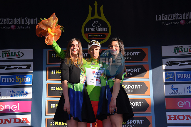 Davide Ballerini (ITA) Androni Giocattoli retains the Maglia Verde mountains jersey at the end of Stage 3 of the 2017 Tirreno Adriatico running 204km from Monterotondo Marittimo to Montalto di Castro, Italy. 10th March 2017.<br /> Picture: La Presse/Gian Mattia D'Alberto | Cyclefile<br /> <br /> <br /> All photos usage must carry mandatory copyright credit (&copy; Cyclefile | La Presse)