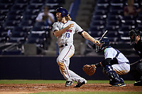 Fort Myers Miracle right fielder Max Murphy (13) follows through on a swing during a game against the Tampa Yankees on April 12, 2017 at George M. Steinbrenner Field in Tampa, Florida.  Tampa defeated Fort Myers 3-2.  (Mike Janes/Four Seam Images)