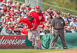 2 March 2013: Washington Nationals third base coach Trent Jewett gives the go to runner Eury Perez during a Spring Training game against the St. Louis Cardinals at Roger Dean Stadium in Jupiter, Florida. The Nationals defeated the Cardinals 6-2 in their first meeting since the NLDS series in October of 2012. Mandatory Credit: Ed Wolfstein Photo *** RAW (NEF) Image File Available ***