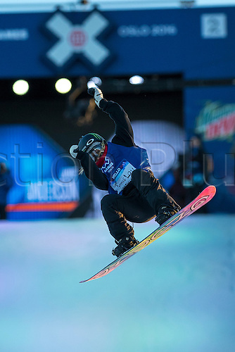 27.02.2016. Toyen, Big Jump Oslo, Norway.  Red Bull X Games Oslo 2016. Ladies Snowboard Big Air Final. Jamie Anderson of United States in action during the Ladies Snowboard Big Air Final at the Red Bull X Games Oslo 2016 in Toyen Big Jump  Oslo, Norway.