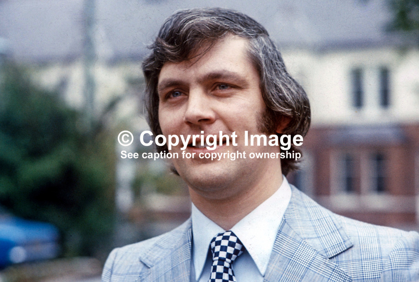 Glenn Barr, Vanguard Unionist Progressive Party, VUPP, candidate, Londonderry City, N Ireland Assembly, Election, June, 1973, 197306000373b<br /> <br /> Copyright Image from Victor Patterson, 54 Dorchester Park, Belfast, UK, BT9 6RJ<br /> <br /> t1: +44 28 9066 1296 (from Rep of Ireland 048 9066 1296)<br /> t2: +44 28 9002 2446 (from Rep of Ireland 048 9002 2446)<br /> m: +44 7802 353836<br /> <br /> e1: victorpatterson@me.com<br /> e2: victorpatterson@gmail.com<br /> <br /> The use of my copyright images is subject to my Terms &amp; Conditions.<br /> <br /> It is IMPORTANT that you familiarise yourself with them. They are available on my website at www.victorpatterson.com.<br /> <br /> None of my copyright images may be used on a website unless they are visibly watermarked, i.e. &copy; Victor Patterson within the body of the visible image. Metadata denoting my copyright must NOT be deleted. <br /> <br /> Web use is extra at currently recommended NUJ rates.