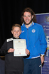 St Johnstone FC Youth Academy Presentation Night at Perth Concert Hall..21.04.14<br /> Stevie May presents to Kieran Sweeney<br /> Picture by Graeme Hart.<br /> Copyright Perthshire Picture Agency<br /> Tel: 01738 623350  Mobile: 07990 594431