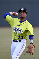Left fielder Wagner Lagrange (23) of the Columbia Fireflies warms up before a game against the Charleston RiverDogs on Thursday, April 4, 2019, at Segra Park in Columbia, South Carolina. Charleston won, 2-1. (Tom Priddy/Four Seam Images)
