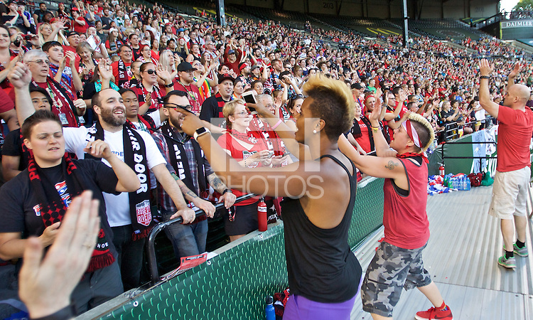 Portland, Oregon - Saturday July 2, 2016: Fans during a regular season National Women's Soccer League (NWSL) match at Providence Park.