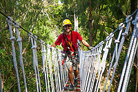Happy male tourist crosses suspension bridge while Ziplining on the Big island with Kohala zipline