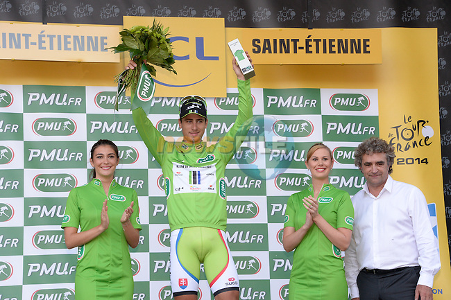 Dominique Rocheteau presents Peter Sagan (SVK) Cannondale with the Green Jersey at the end of Stage 12 of the 2014 Tour de France running 185.5km from Bourg-en-Bresse to Saint Etienne. 17th July 2014.<br /> Photo ASO/B.Bade/www.newsfile.ie