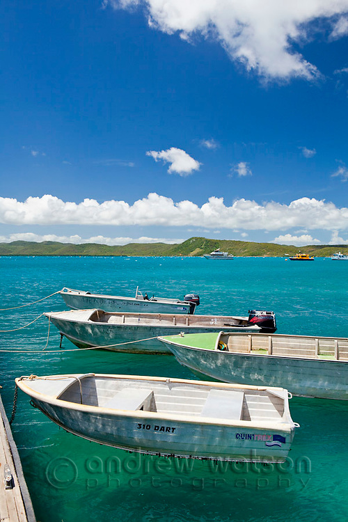 Dinghys moored at Engineers Wharf.  Thursday Island, Torres Strait Islands, Queensland, Australia