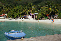 AJ2371, resort, British Virgin Islands, Jost Van Dyke, Caribbean, Virgin Islands, BVI, B.V.I., Scenic coastline and boat moored on dock of Great Harbor on the island of Jost Van Dyke on the British Virgin Islands.