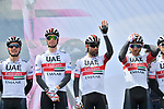 UAE Team Emirates at sign on before Stage 4 of the 2019 Giro d'Italia, running 235km from Orbetello to Frascati, Italy. 14th May 2019<br /> Picture: Massimo Paolone/LaPresse | Cyclefile<br /> <br /> All photos usage must carry mandatory copyright credit (© Cyclefile | Massimo Paolone/LaPresse)