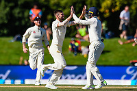 Mark Wood of England  celebrates the wicket og BJ Watling of the Black Caps during the final day of the Second International Cricket Test match, New Zealand V England, Hagley Oval, Christchurch, New Zealand, 3rd April 2018.Copyright photo: John Davidson / www.photosport.nz
