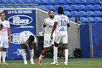 4th July 2020; Lyon, France; French League 1 friendly due to the Covid-19 pandemic forced league ending;  Memphis Depay and Bertrand Traore (lyon)  celebrate