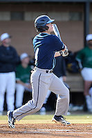 Shortstop Johnathan Stokes (4) of the Citadel bats in a game against the University of South Carolina Upstate Spartans on Tuesday, February, 18, 2014, at Cleveland S. Harley Park in Spartanburg, South Carolina. Upstate won, 6-2. (Tom Priddy/Four Seam Images)
