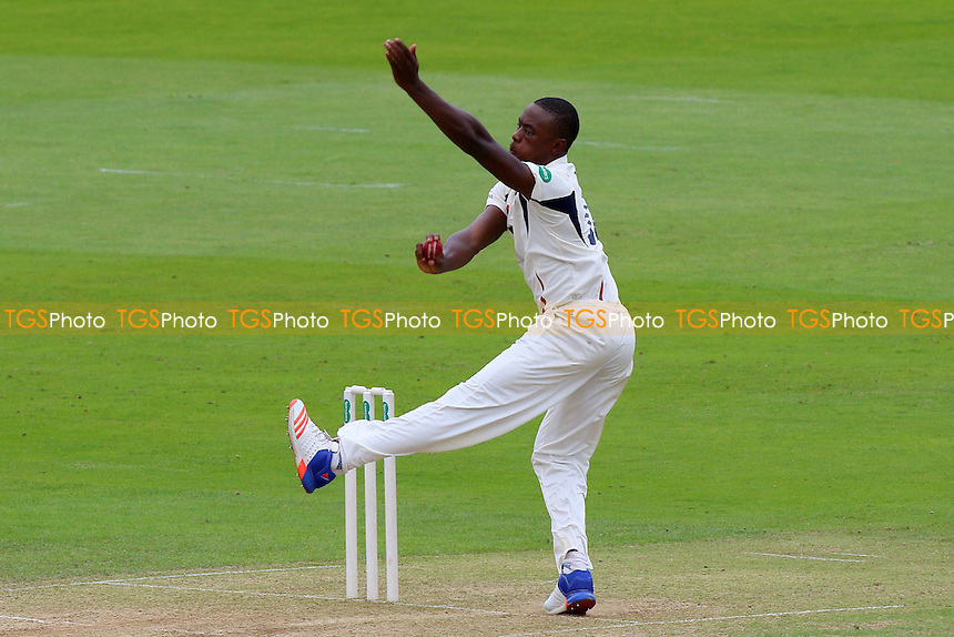 Kagiso Rabada in bowling action for Kent during Essex CCC vs Kent CCC, Specsavers County Championship Division 2 Cricket at the Essex County Ground on 4th July 2016