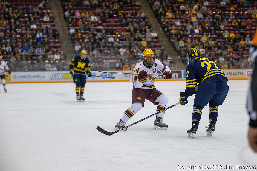 25 Feb 16: The University of Minnesota Golden Gophers play against the University of Michigan Wolverines in a B1G conference matchup at Mariucci Arena in Minneapolis, MN.