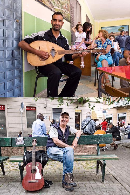 PER TUTTI E PER CIASCUNO<br /> Aziz Abbassi e Antonio Verdini, musicisti<br /> <br /> La musica da sé si coltiva <br /> e suona.<br /> Il chitarrista sorride in primo piano <br /> infilato nel quadro della vita<br /> alle sue spalle,<br /> in secondo piano<br /> <br /> Dentro la vita nuova<br /> tirata su con il secchio dall'abisso <br /> Antonio vuole cantare, ridere e recitare.<br /> La decisione è presa<br /> lo sguardo quieto parla <br /> forte,<br /> senza mezze misure<br /> è così,<br /> proprio così sarò <br /> d'ora in poi.