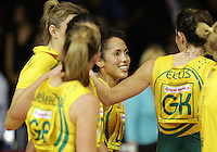 16.11.2007 Australian's Selina Gilsenan, Liz Ellis and team mates celebrate winning the Australia v England match at the New World Netball World Champs held at Trusts Stadium Auckland New Zealand. Mandatory Photo Credit ©Michael Bradley.