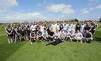 Pictured: Both teams pose for a picture Thursday 21 May 2015<br />